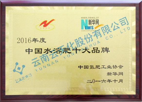 2016年度中国十dashui溶fei品牌