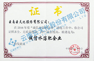 2016年度诚xinshui溶fei企业