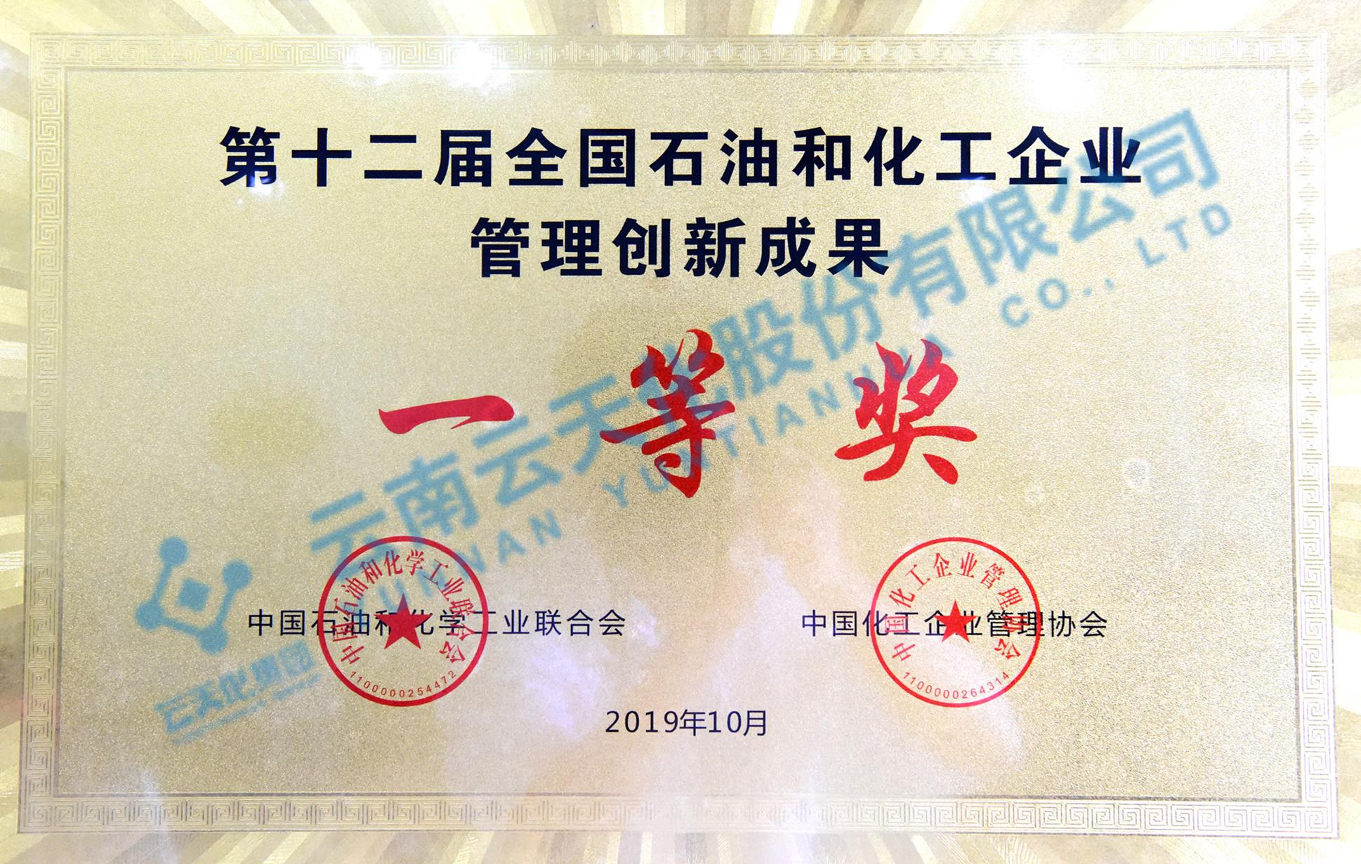2019全国石油和化工企业guan理创新成果一等奖